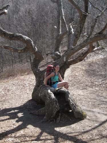 Christine Haffner takes a break on a hike.